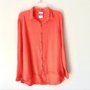 Fresh Produce Sundial Shirt Red Coral NWTs Medium